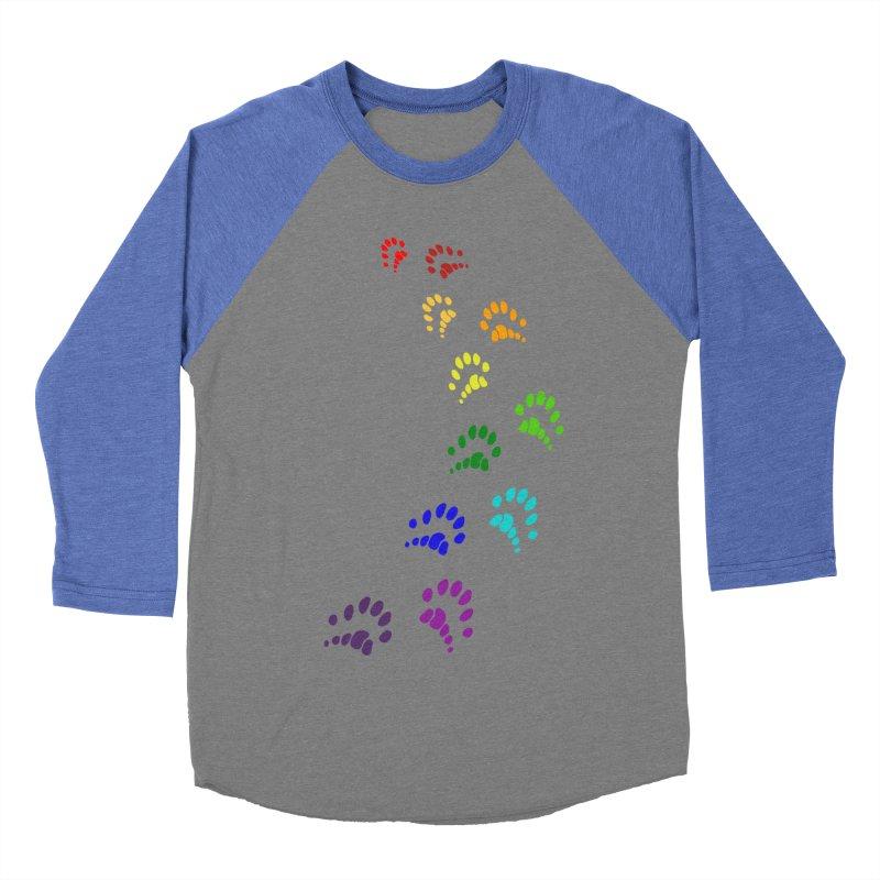 Polly Paws Rainbow Trail Polydactyl Cat Hemingway Paw Prints Multiple Six Toes Feline Pet Women's Baseball Triblend Longsleeve T-Shirt by Fringe Walkers Shirts n Prints