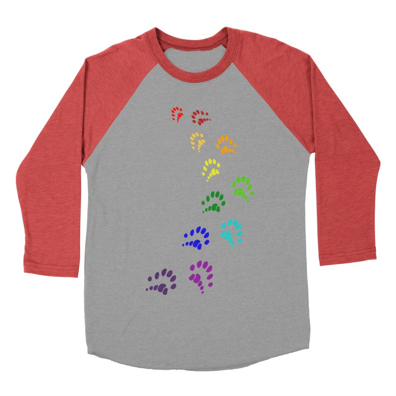 Polly Paws Rainbow Trail Polydactyl Cat Hemingway Paw Prints Multiple Six Toes Feline Pet Women's Baseball Triblend Longsleeve T-Shirt by Fringe Walkers Shirts n Prints