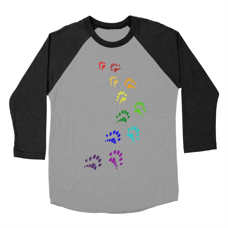 Polly Paws Rainbow Trail Polydactyl Cat Hemingway Paw Prints Multiple Six Toes Feline Pet Men's Baseball Triblend T-Shirt by Fringe Walkers Shirts n Prints