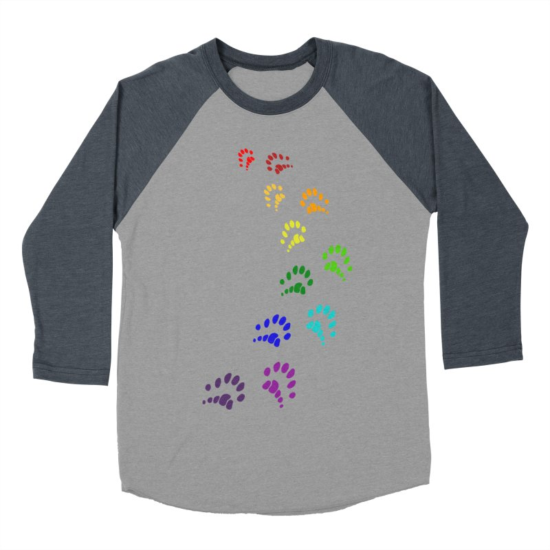 Polly Paws Rainbow Trail Polydactyl Cat Hemingway Paw Prints Multiple Six Toes Feline Pet Men's Baseball Triblend Longsleeve T-Shirt by Fringe Walkers Shirts n Prints