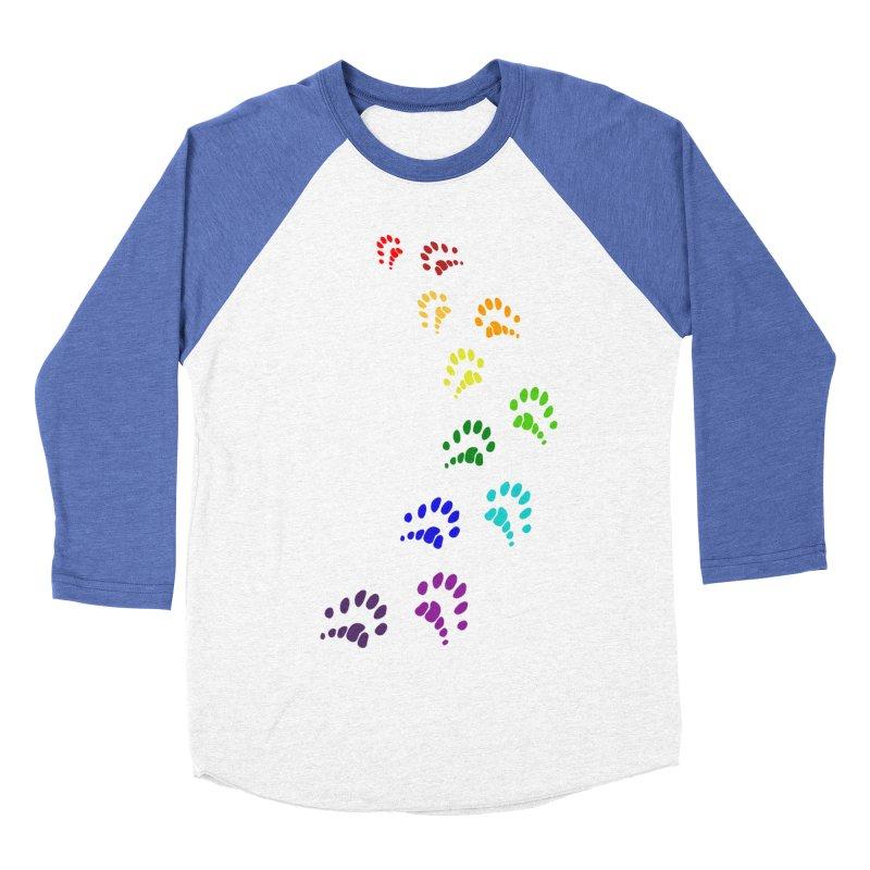 Polly Paws Rainbow Trail Polydactyl Cat Hemingway Paw Prints Multiple Six Toes Feline Pet Men's Baseball Triblend Longsleeve T-Shirt by Fringe Walkers Shirts n Prints