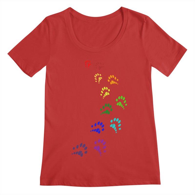 Polly Paws Rainbow Trail Polydactyl Cat Hemingway Paw Prints Multiple Six Toes Feline Pet Women's Regular Scoop Neck by Fringe Walkers Shirts n Prints