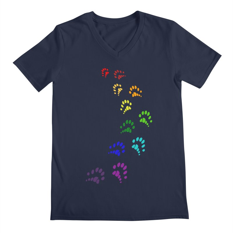 Polly Paws Rainbow Trail Polydactyl Cat Hemingway Paw Prints Multiple Six Toes Feline Pet Men's V-Neck by Fringe Walkers Shirts n Prints