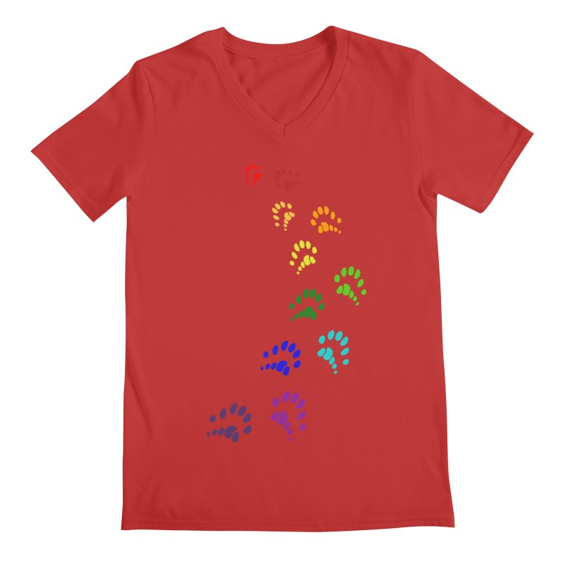Polly Paws Rainbow Trail Polydactyl Cat Hemingway Paw Prints Multiple Six Toes Feline Pet Men's Regular V-Neck by Fringe Walkers Shirts n Prints