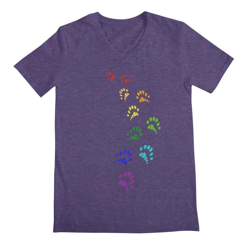Polly Paws Rainbow Trail Polydactyl Cat Hemingway Paw Prints Multiple Six Toes Feline Pet Men's Regular V-Neck by Fringe Walkers Shirts n Prints