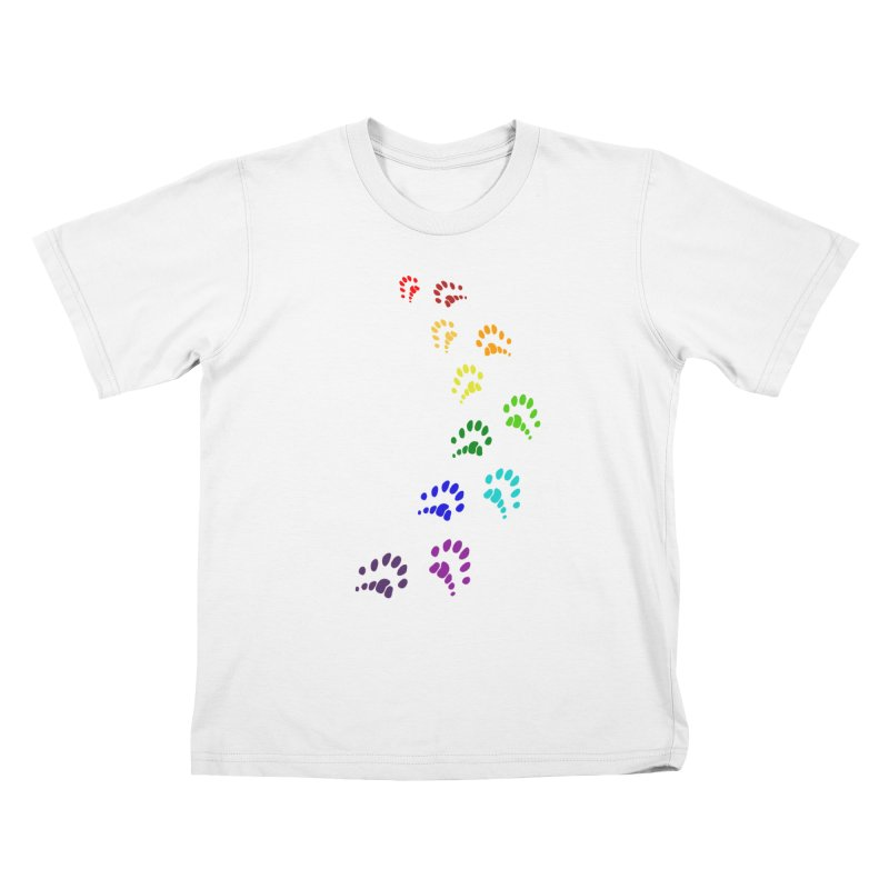 Polly Paws Rainbow Trail Polydactyl Cat Hemingway Paw Prints Multiple Six Toes Feline Pet Kids T-Shirt by Fringe Walkers Shirts n Prints
