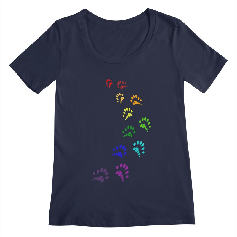 Polly Paws Rainbow Trail Polydactyl Cat Hemingway Paw Prints Multiple Six Toes Feline Pet Women's Regular Scoop Neck by Fringe Walkers Shirts n Prints