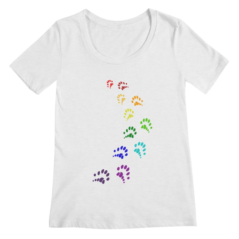 Polly Paws Rainbow Trail Polydactyl Cat Hemingway Paw Prints Multiple Six Toes Feline Pet Women's Scoop Neck by Fringe Walkers Shirts n Prints