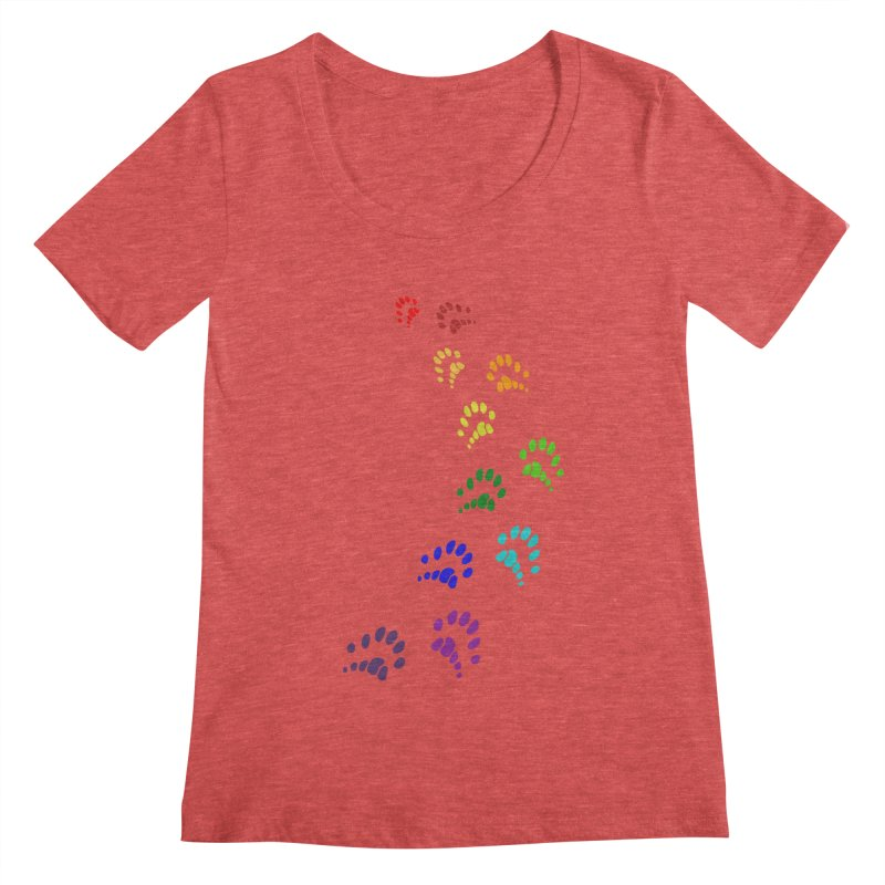Polly Paws Rainbow Trail Polydactyl Cat Hemingway Paw Prints Multiple Six Toes Feline Pet Women's Scoopneck by Fringe Walkers Shirts n Prints