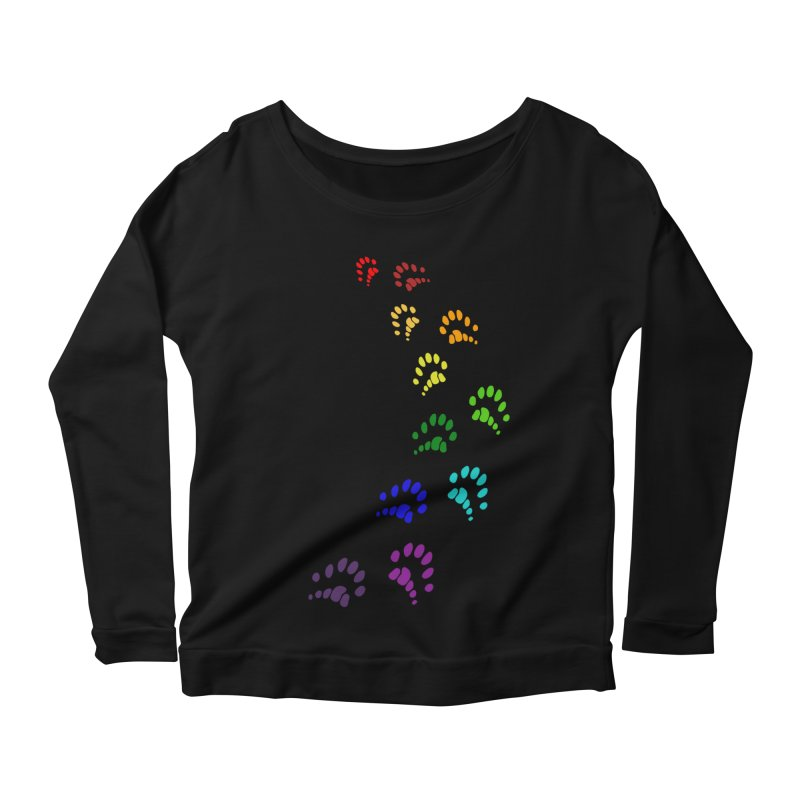 Polly Paws Rainbow Trail Polydactyl Cat Hemingway Paw Prints Multiple Six Toes Feline Pet Women's Scoop Neck Longsleeve T-Shirt by Fringe Walkers Shirts n Prints