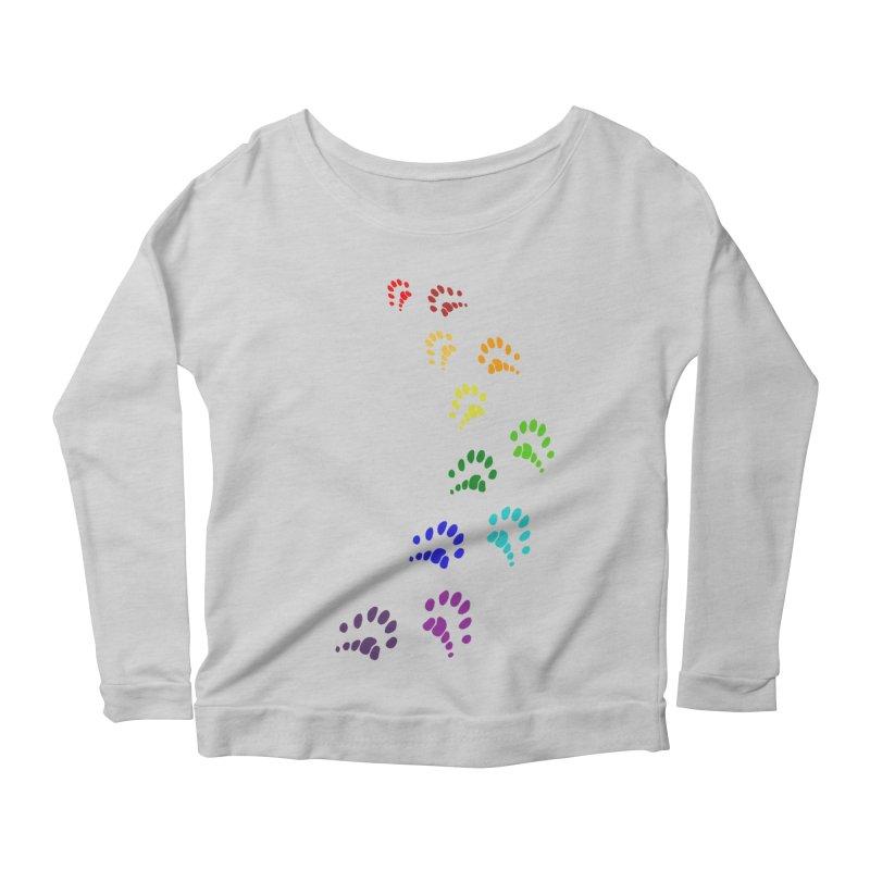 Polly Paws Rainbow Trail Polydactyl Cat Hemingway Paw Prints Multiple Six Toes Feline Pet Women's Scoop Neck Longsleeve T-Shirt by Fringe Walkers Shirts n Prints