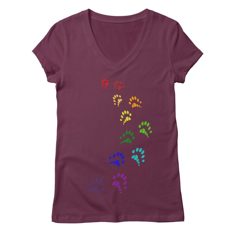 Polly Paws Rainbow Trail Polydactyl Cat Hemingway Paw Prints Multiple Six Toes Feline Pet Women's V-Neck by Fringe Walkers Shirts n Prints