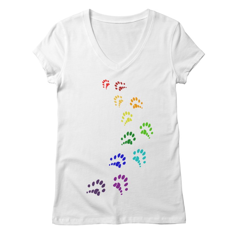 Polly Paws Rainbow Trail Polydactyl Cat Hemingway Paw Prints Multiple Six Toes Feline Pet Women's Regular V-Neck by Fringe Walkers Shirts n Prints