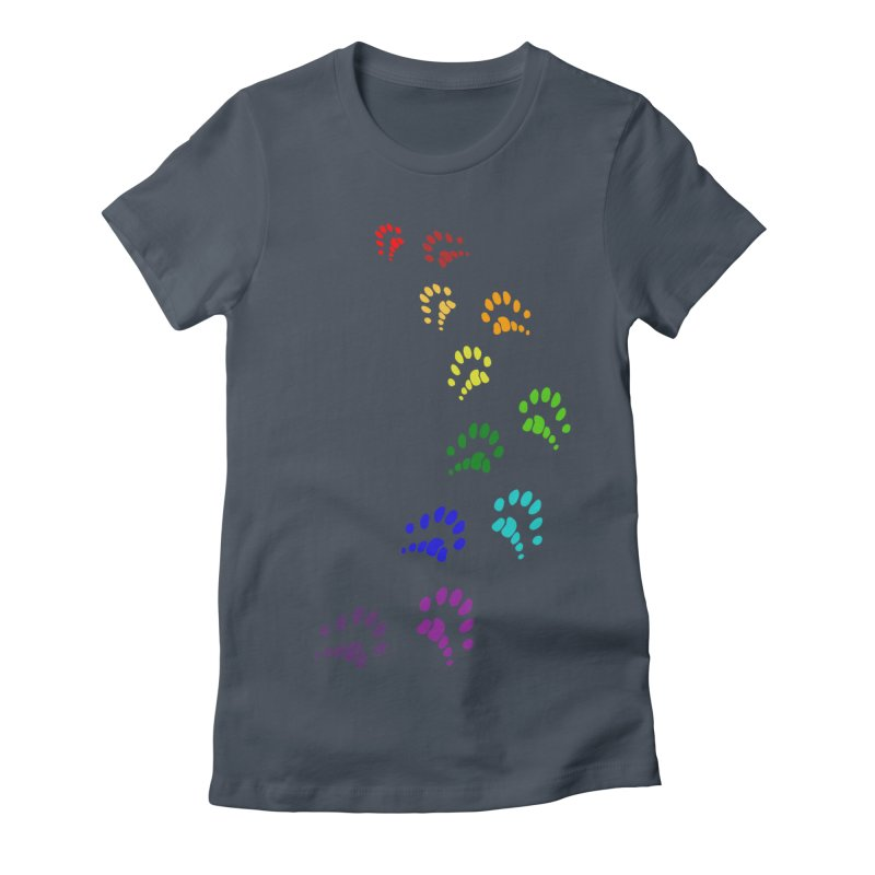Polly Paws Rainbow Trail Polydactyl Cat Hemingway Paw Prints Multiple Six Toes Feline Pet Women's T-Shirt by Fringe Walkers Shirts n Prints