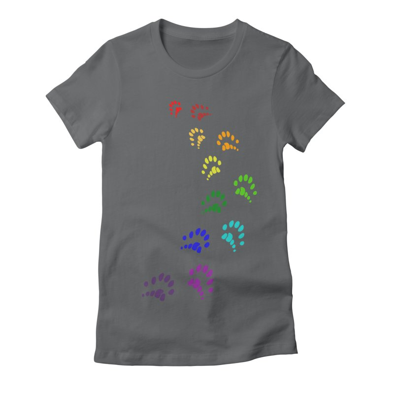 Polly Paws Rainbow Trail Polydactyl Cat Hemingway Paw Prints Multiple Six Toes Feline Pet Women's Fitted T-Shirt by Fringe Walkers Shirts n Prints