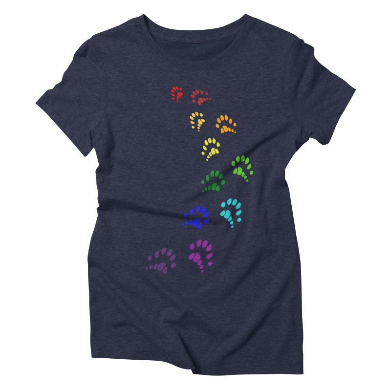 Polly Paws Rainbow Trail Polydactyl Cat Hemingway Paw Prints Multiple Six Toes Feline Pet Women's Triblend T-Shirt by Fringe Walkers Shirts n Prints
