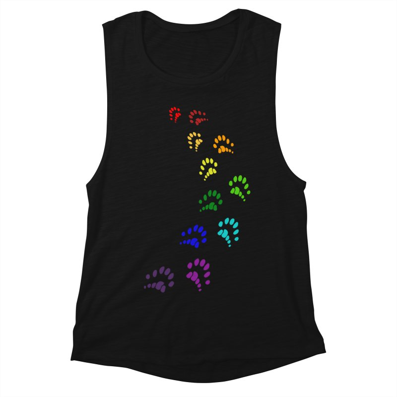 Polly Paws Rainbow Trail Polydactyl Cat Hemingway Paw Prints Multiple Six Toes Feline Pet Women's Tank by Fringe Walkers Shirts n Prints