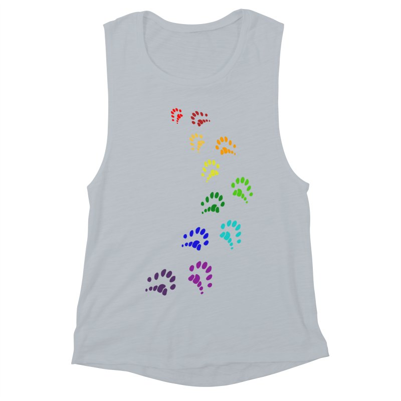 Polly Paws Rainbow Trail Polydactyl Cat Hemingway Paw Prints Multiple Six Toes Feline Pet Women's Muscle Tank by Fringe Walkers Shirts n Prints