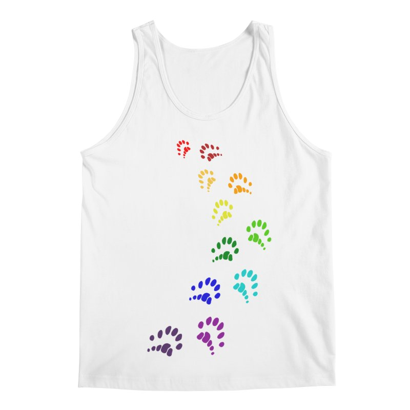 Polly Paws Rainbow Trail Polydactyl Cat Hemingway Paw Prints Multiple Six Toes Feline Pet Men's Regular Tank by Fringe Walkers Shirts n Prints