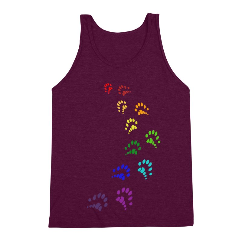 Polly Paws Rainbow Trail Polydactyl Cat Hemingway Paw Prints Multiple Six Toes Feline Pet Men's Triblend Tank by Fringe Walkers Shirts n Prints