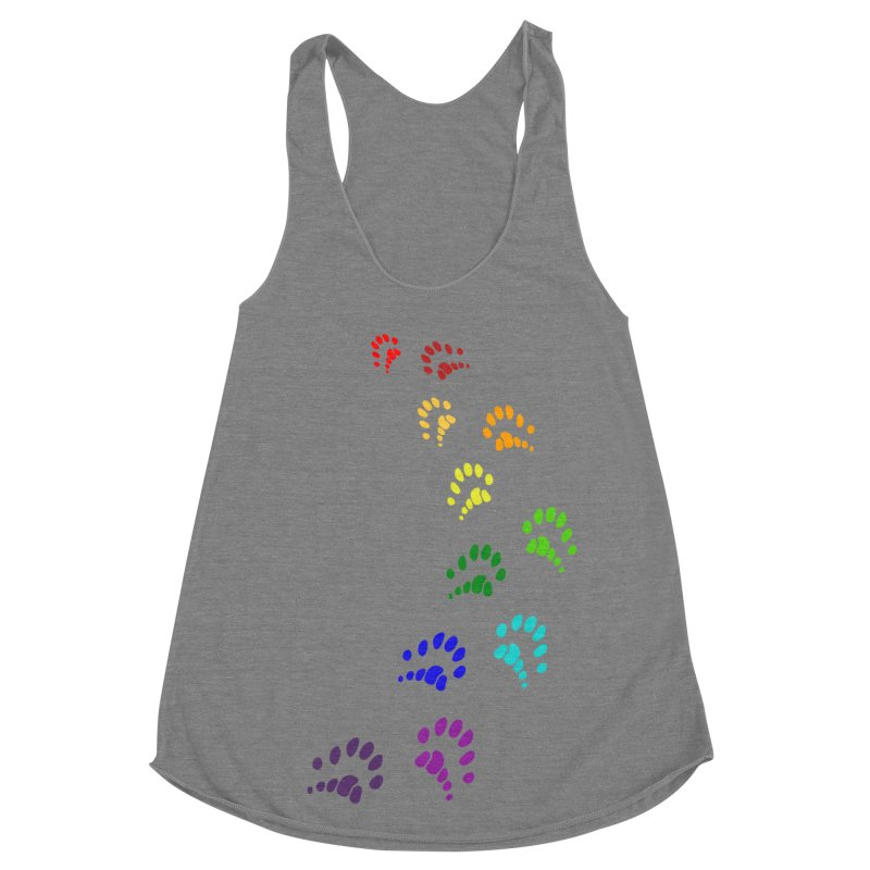 Polly Paws Rainbow Trail Polydactyl Cat Hemingway Paw Prints Multiple Six Toes Feline Pet Women's Racerback Triblend Tank by Fringe Walkers Shirts n Prints