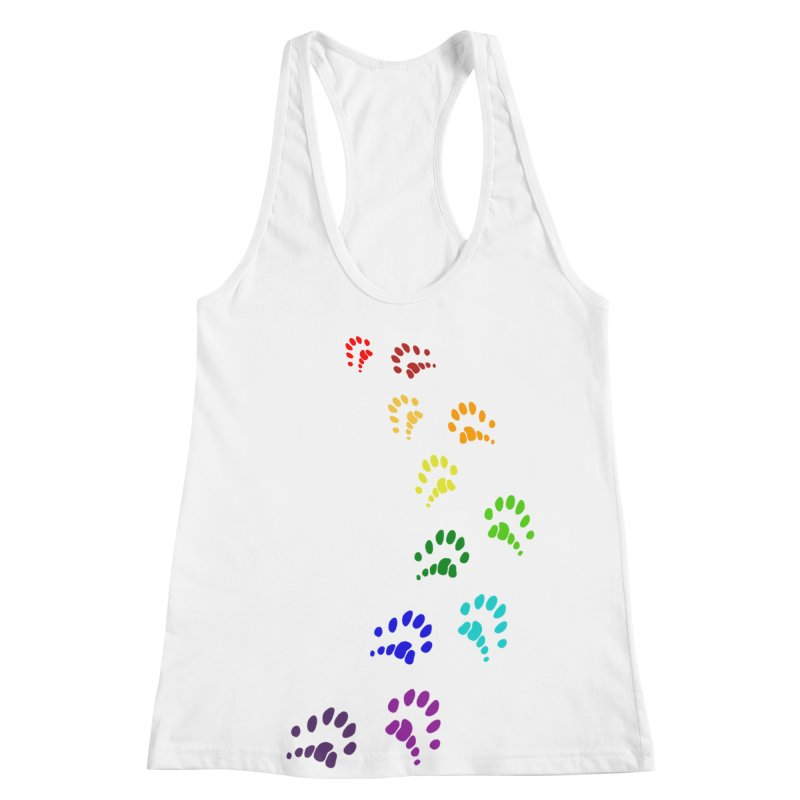 Polly Paws Rainbow Trail Polydactyl Cat Hemingway Paw Prints Multiple Six Toes Feline Pet Women's Racerback Tank by Fringe Walkers Shirts n Prints