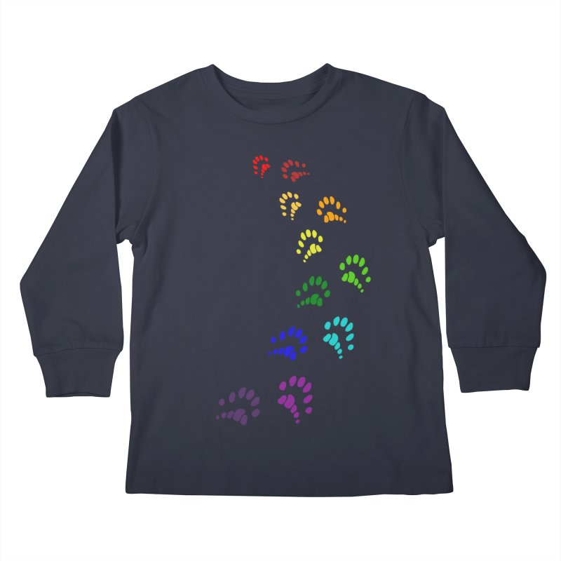 Polly Paws Rainbow Trail Polydactyl Cat Hemingway Paw Prints Multiple Six Toes Feline Pet Kids Longsleeve T-Shirt by Fringe Walkers Shirts n Prints