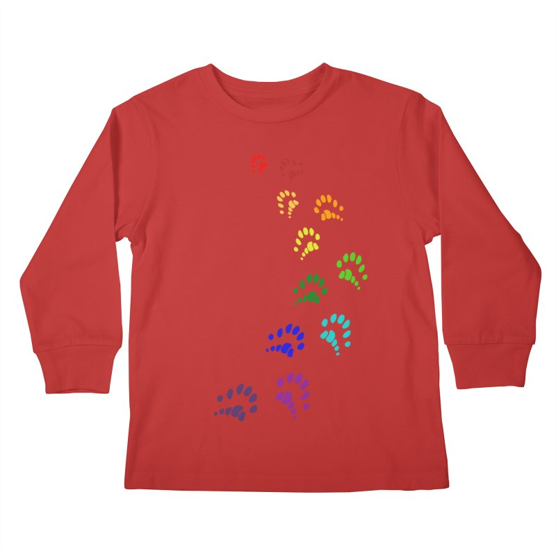 Polly Paws Rainbow Trail Polydactyl Cat Hemingway Paw Prints Multiple Six Toes Feline Pet Kids Longsleeve T-Shirt by Fringe Walkers Shirts n Prints