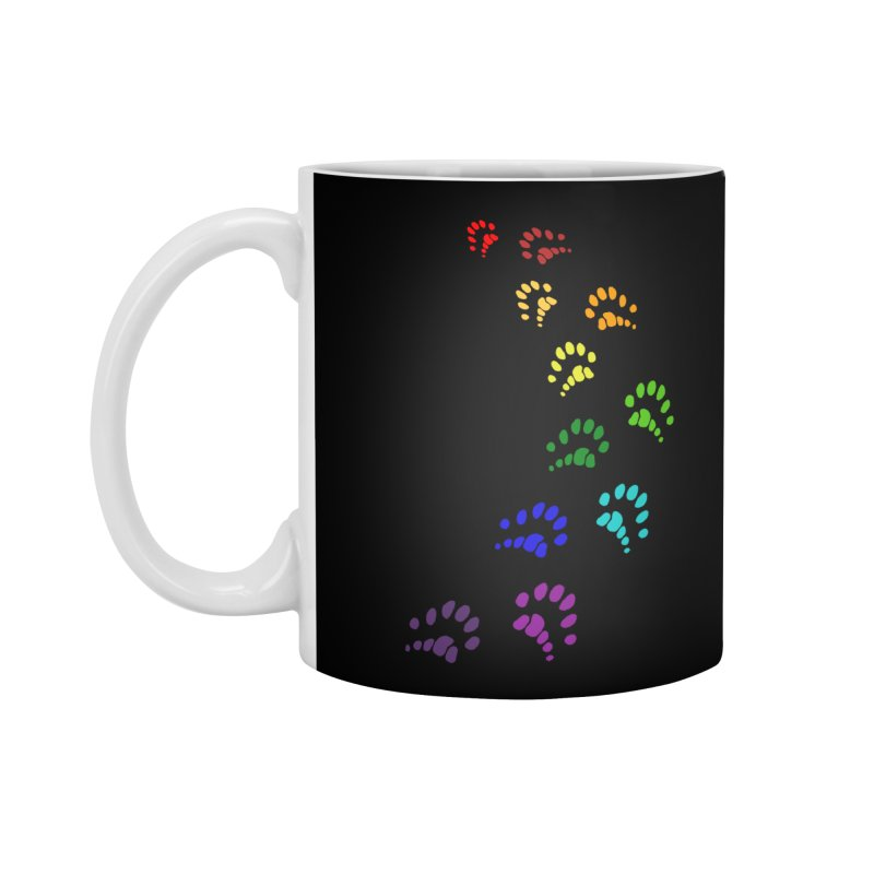 Polly Paws Rainbow Trail Polydactyl Cat Hemingway Paw Prints Multiple Six Toes Feline Pet Accessories Mug by Fringe Walkers Shirts n Prints