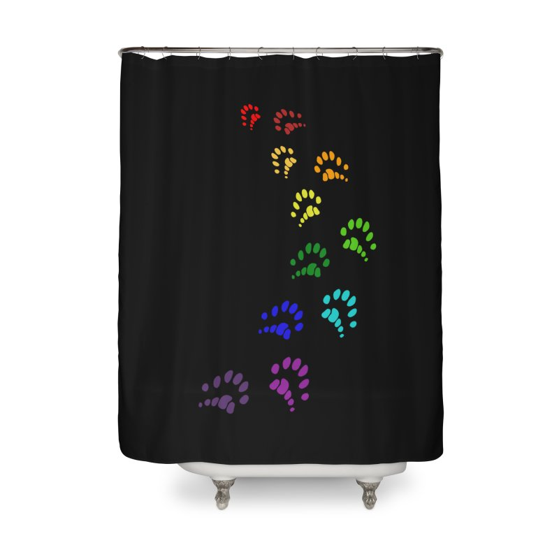 Polly Paws Rainbow Trail Polydactyl Cat Hemingway Paw Prints Multiple Six Toes Feline Pet Home Shower Curtain by Fringe Walkers Shirts n Prints