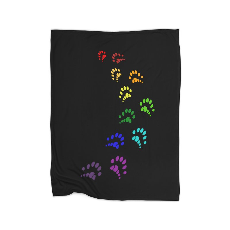 Polly Paws Rainbow Trail Polydactyl Cat Hemingway Paw Prints Multiple Six Toes Feline Pet Home Blanket by Fringe Walkers Shirts n Prints