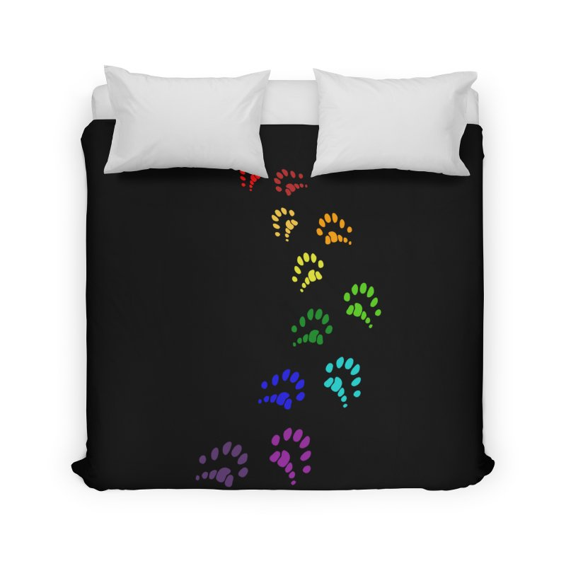Polly Paws Rainbow Trail Polydactyl Cat Hemingway Paw Prints Multiple Six Toes Feline Pet Home Duvet by Fringe Walkers Shirts n Prints
