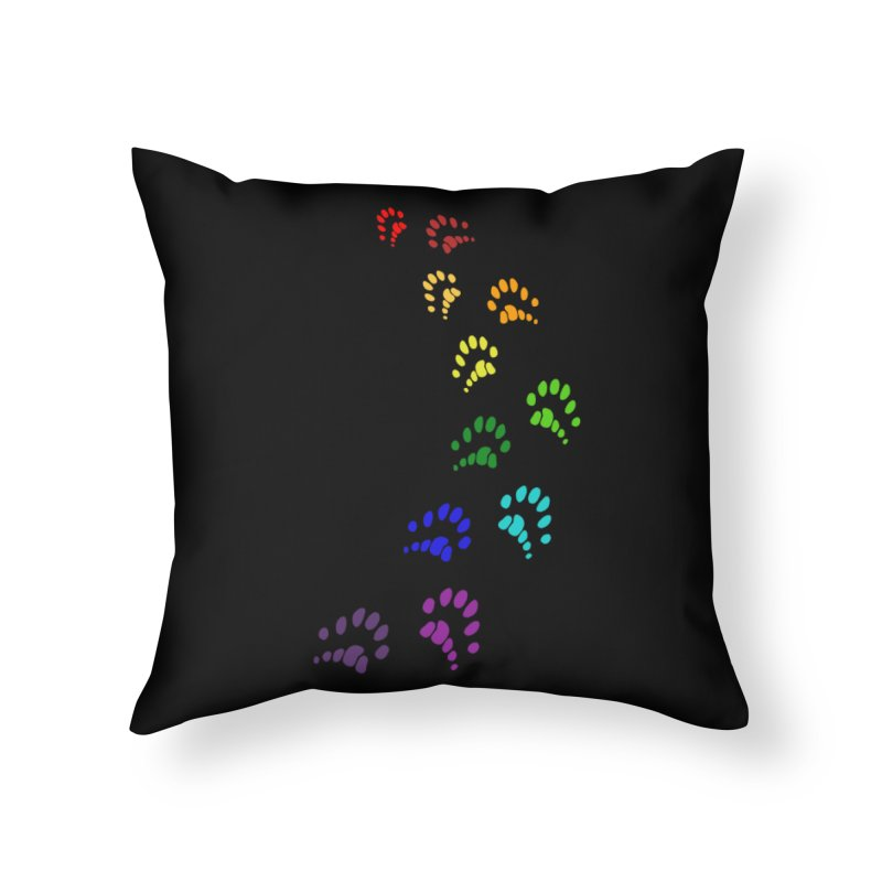 Polly Paws Rainbow Trail Polydactyl Cat Hemingway Paw Prints Multiple Six Toes Feline Pet Home Throw Pillow by Fringe Walkers Shirts n Prints