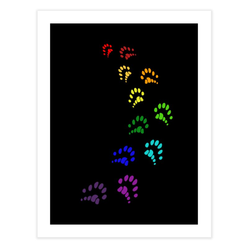 Polly Paws Rainbow Trail Polydactyl Cat Hemingway Paw Prints Multiple Six Toes Feline Pet Home Fine Art Print by Fringe Walkers Shirts n Prints