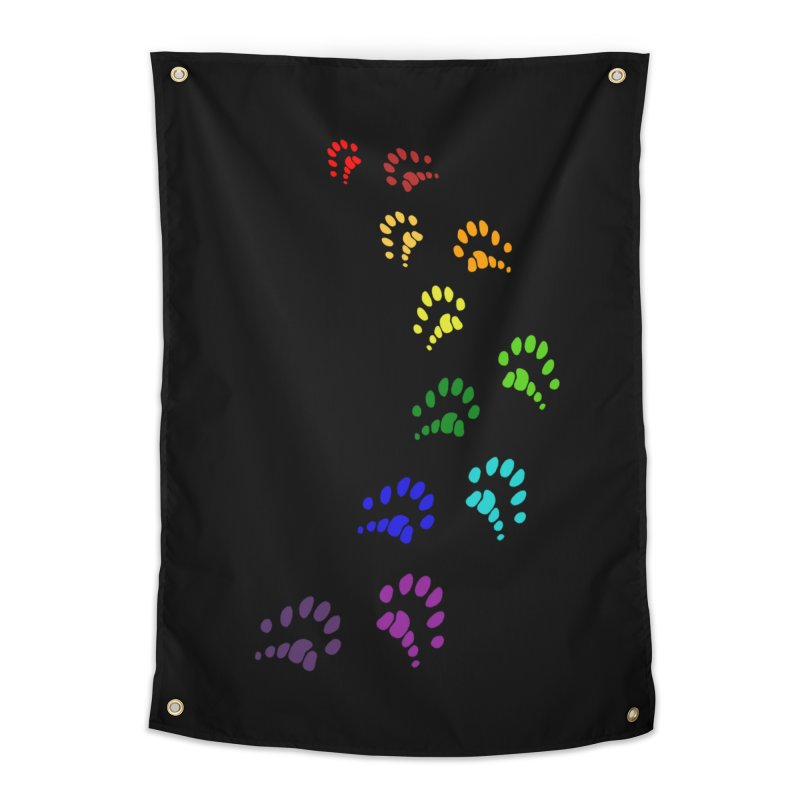 Polly Paws Rainbow Trail Polydactyl Cat Hemingway Paw Prints Multiple Six Toes Feline Pet Home Tapestry by Fringe Walkers Shirts n Prints