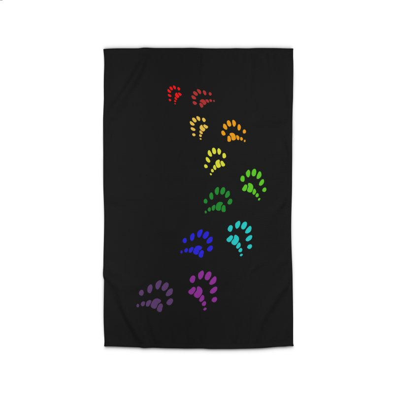 Polly Paws Rainbow Trail Polydactyl Cat Hemingway Paw Prints Multiple Six Toes Feline Pet Home Rug by Fringe Walkers Shirts n Prints
