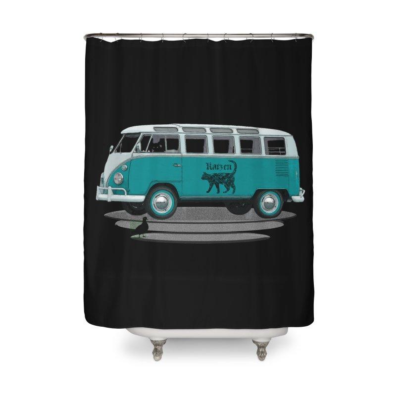 Katzen and the Pigeon Black Cat Hippie Van German Katzen Blue Microbus Home Shower Curtain by Fringe Walkers Shirts n Prints