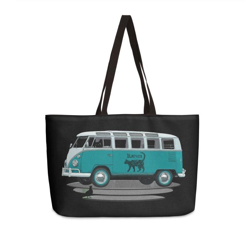 Katzen and the Pigeon Black Cat Hippie Van German Katzen Blue Microbus Accessories Weekender Bag Bag by Fringe Walkers Shirts n Prints