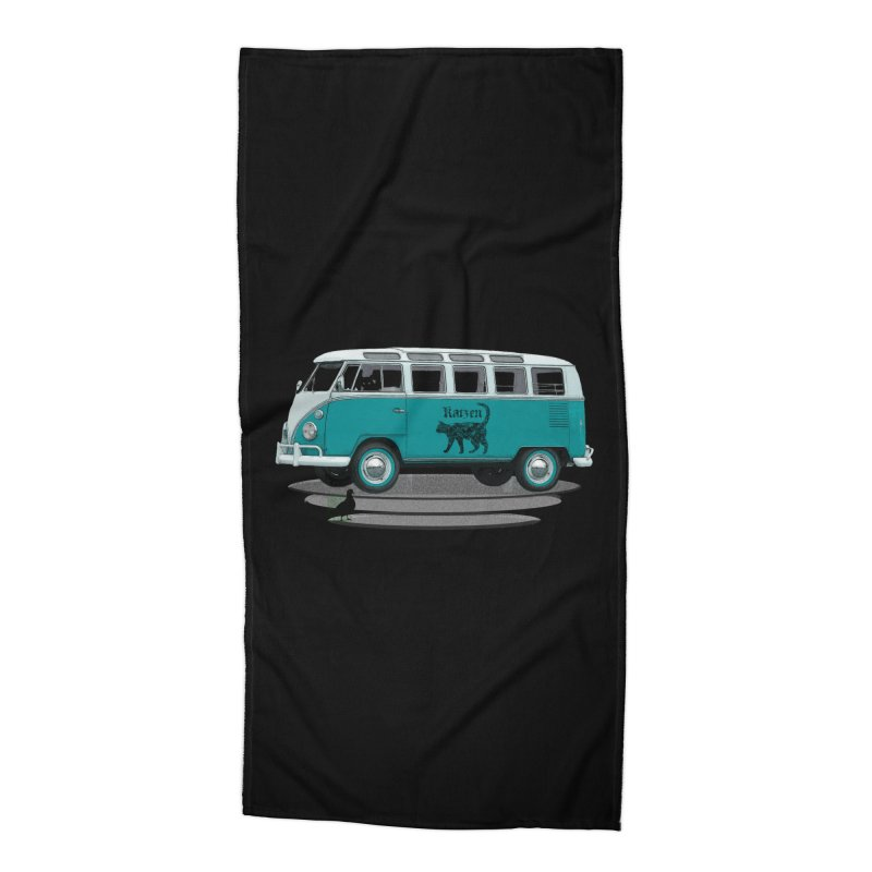 Katzen and the Pigeon Black Cat Hippie Van German Katzen Blue Microbus Accessories Beach Towel by Fringe Walkers Shirts n Prints