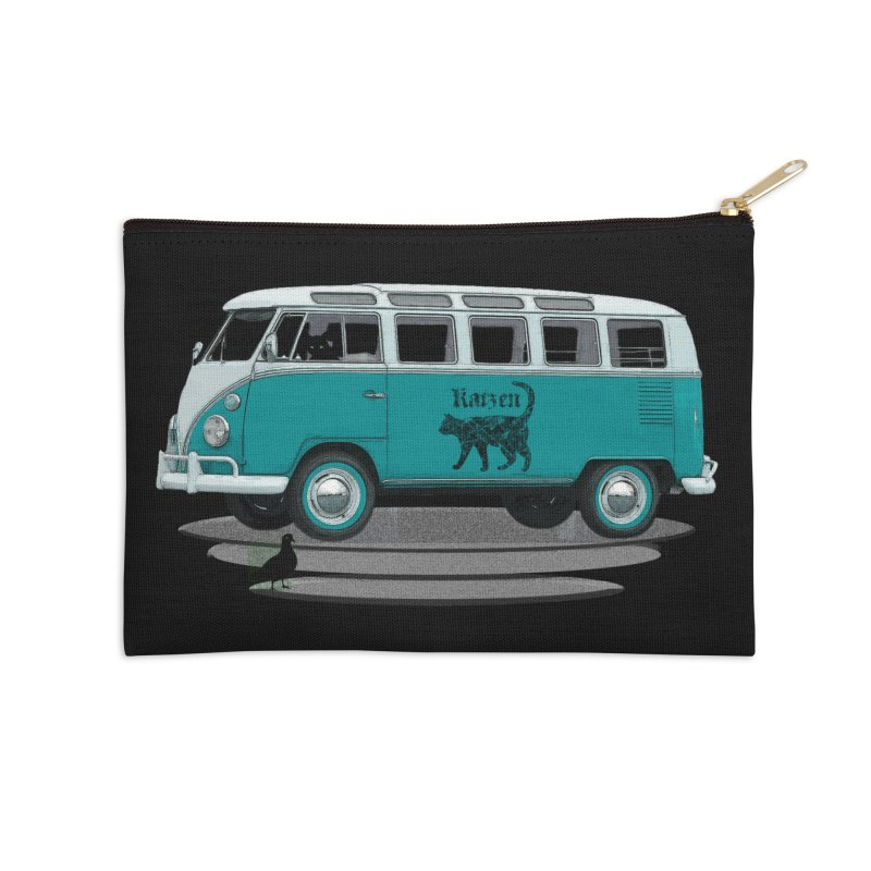 Katzen and the Pigeon Black Cat Hippie Van German Katzen Blue Microbus Accessories Zip Pouch by Fringe Walkers Shirts n Prints
