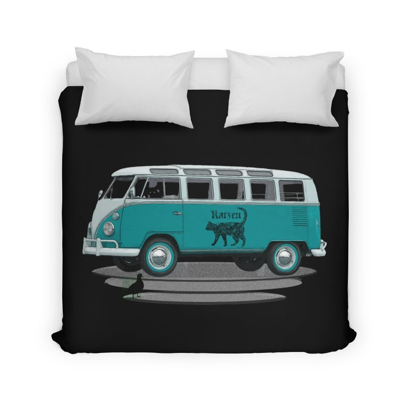 Katzen and the Pigeon Black Cat Hippie Van German Katzen Blue Microbus Home Duvet by Fringe Walkers Shirts n Prints