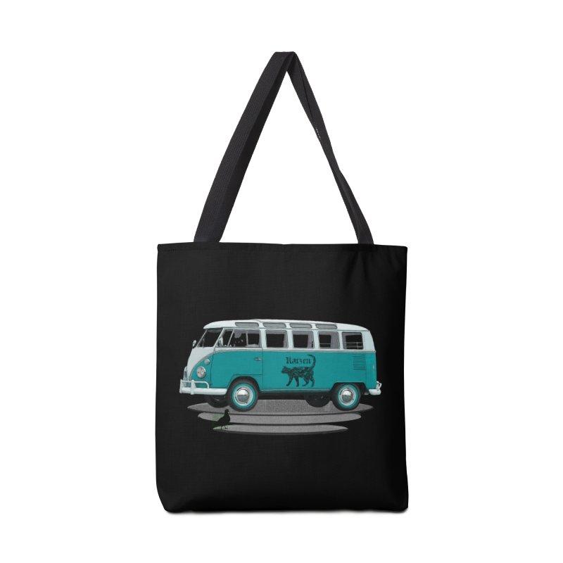 Katzen and the Pigeon Black Cat Hippie Van German Katzen Blue Microbus Accessories Bag by Fringe Walkers Shirts n Prints