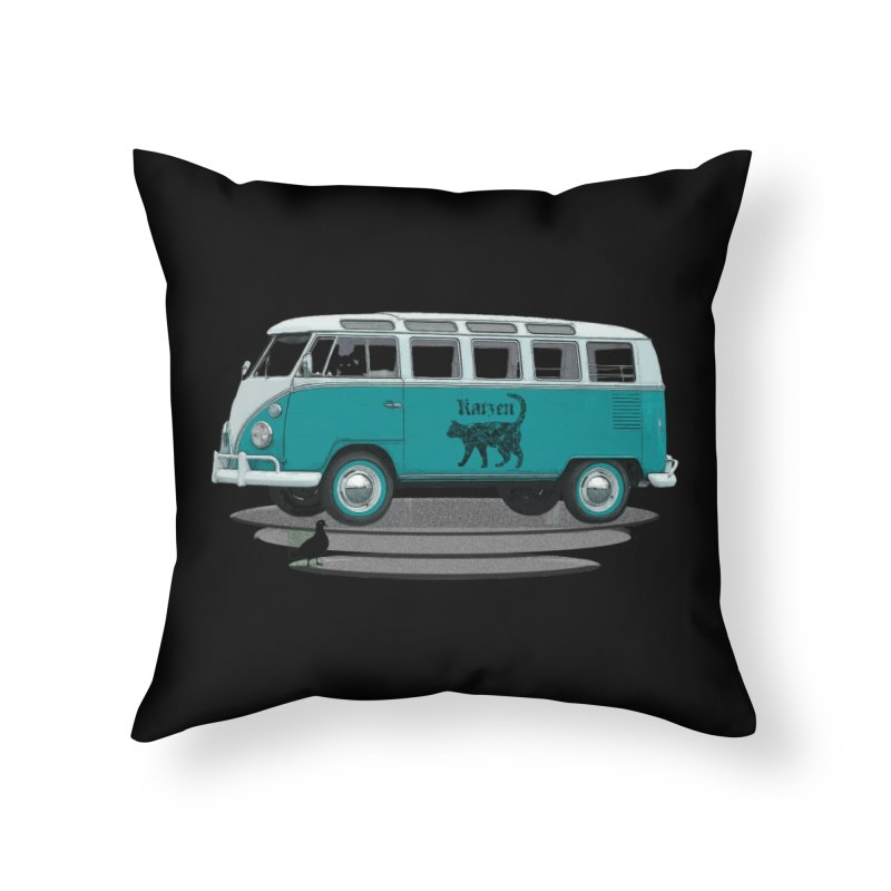 Katzen and the Pigeon Black Cat Hippie Van German Katzen Blue Microbus Home Throw Pillow by Fringe Walkers Shirts n Prints