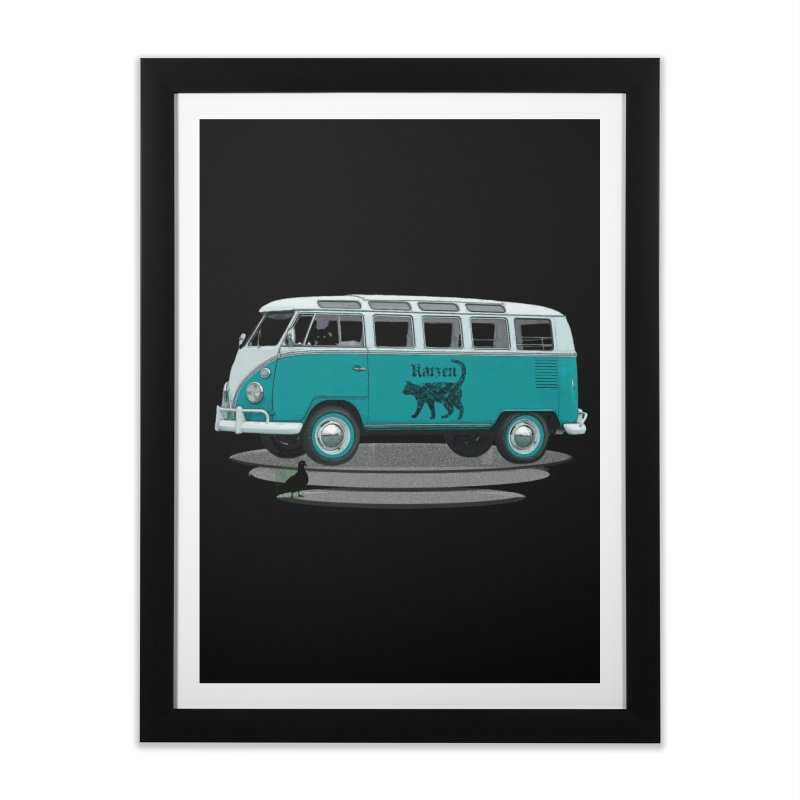 Katzen and the Pigeon Black Cat Hippie Van German Katzen Blue Microbus Home Framed Fine Art Print by Fringe Walkers Shirts n Prints
