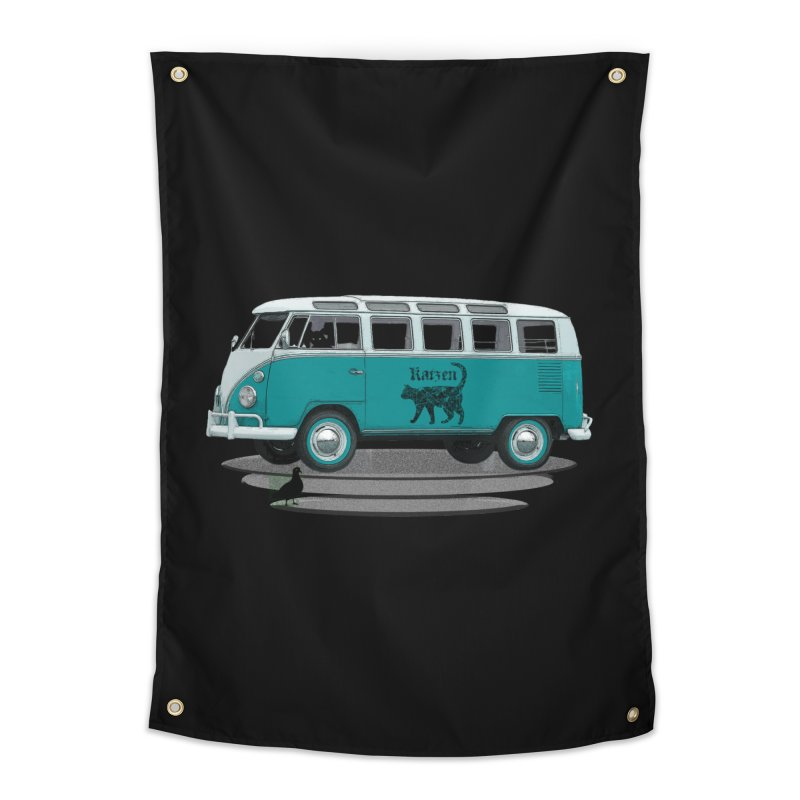Katzen and the Pigeon Black Cat Hippie Van German Katzen Blue Microbus Home Tapestry by Fringe Walkers Shirts n Prints