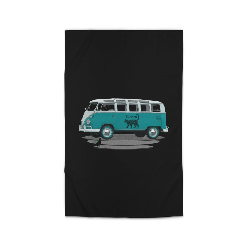 Katzen and the Pigeon Black Cat Hippie Van German Katzen Blue Microbus Home Rug by Fringe Walkers Shirts n Prints