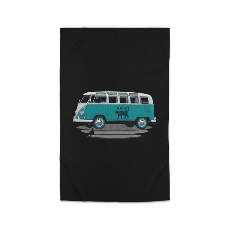 Katzen and the Pigeon Black Cat Hippie Van German Katzen Blue Microbus Home Rug by Fringe Walkers Shirts n Prints