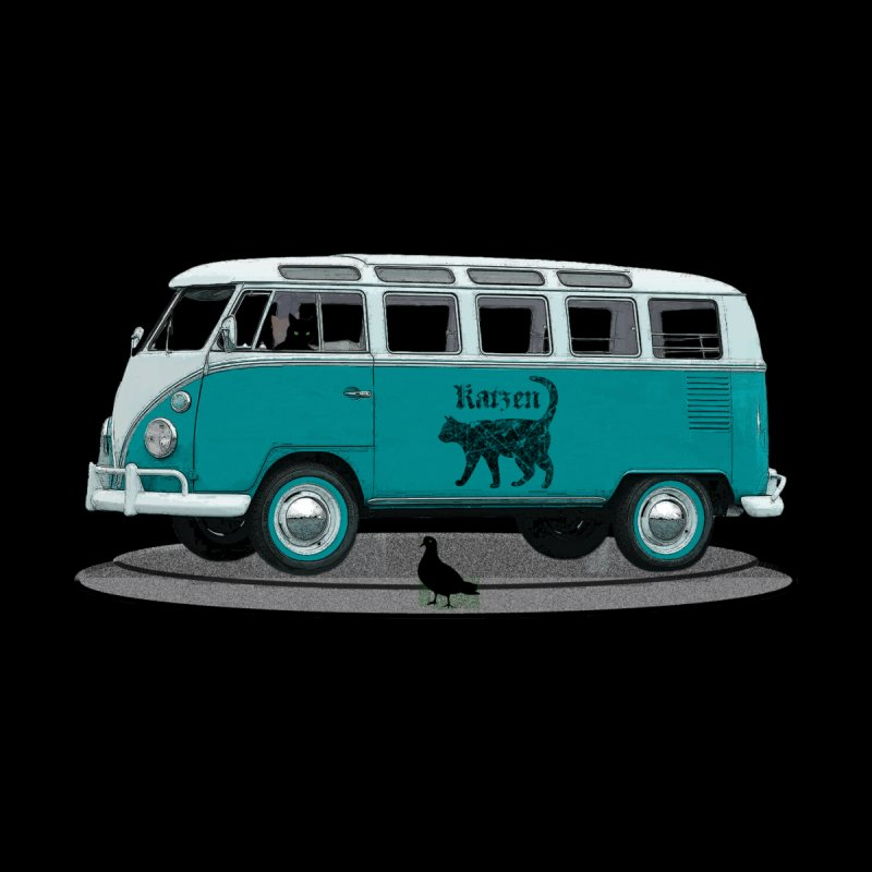 Katzen and the Pigeon Black Cat Hippie Van German Katzen Blue Microbus Women's T-Shirt by Fringe Walkers Shirts n Prints