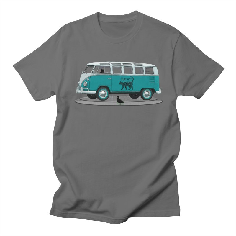 Katzen and the Pigeon Black Cat Hippie Van German Katzen Blue Microbus Men's T-Shirt by Fringe Walkers Shirts n Prints