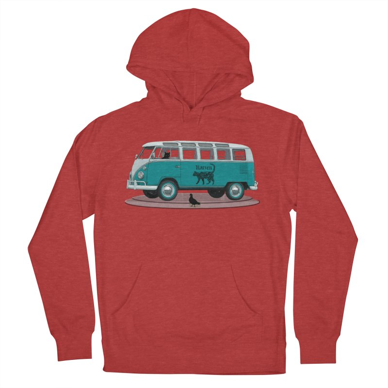 Katzen and the Pigeon Black Cat Hippie Van German Katzen Blue Microbus Women's Pullover Hoody by Fringe Walkers Shirts n Prints